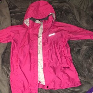 hot pink Marmot rain jacket